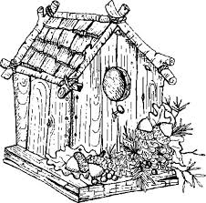 Traditional Bird House Coloring Pages