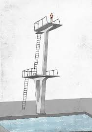 Illustrative Image Of Man Standing On Diving Board Prepares To Dive