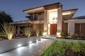 Awesome Modern Landscape Lighting on the Side of Garden Path with
