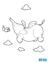 Elephant Flying Coloring Page