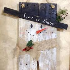 Let It Snow Rustic Whitewashed Burlap Snowman Wall Hanging Decor Made From Repurposed Pallet Wood Winter