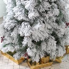 75 Flocked Christmas Tree by Belham Living Flocked Pine Needle Pre Lit Christmas Tree With