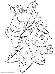 Christmas Tree Coloring Page Print Out by Santa Claus Decorate Christmas Tree