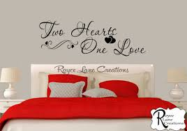 Bedroom Wall Decal Two Hearts One Love