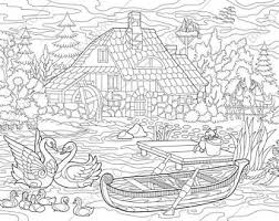Adult Coloring Pages Rural Landscape Zentangle Doodle Book Page For Adults Digital