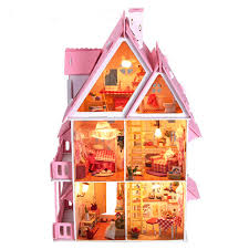 Iiecreate Diy Wood Dream Doll House With Light Miniature And