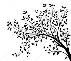 Vector tree branch black silhouette — Stock Vector