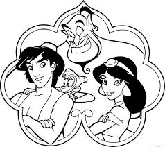 Coloriage Aladdin Jasmine Genie Abu JeColoriecom