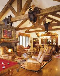 Home Design And Decor Charming Western Ideas Playroom With Leather Seating Mini Bar Antler Wall