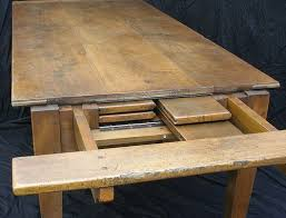483 Custom Made Bespoke Antique Farmhouse Table With Self Storing Leaves