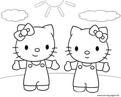 Twin Hello Kitty Coloring Paged5bf Coloring Pages Printable