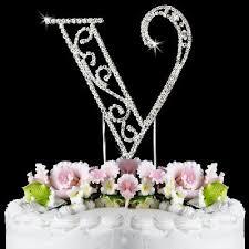 Beautiful Crystal Rhinestone Silver Letter V Monogram Wedding Anniversary Birthday Cake Topper