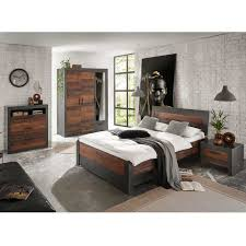 komplettschlafzimmer in dunkelgrau und altholz optik loft design 4 teilig