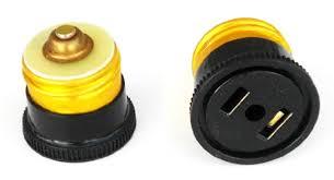 base light bulb socket to 110v ac black adaptor converter