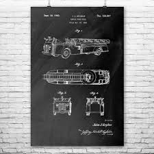 Aerial Fire Truck Poster Print | Firefighting Wall Art | Patent Earth
