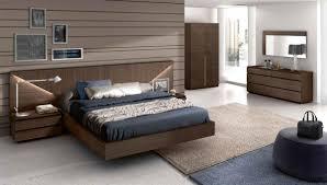 Modern Dark Walnut Finish Bedroom Set with Headboard Lights GC501