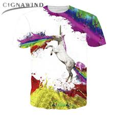 New Fashion Women Men Funny Animal 3D Print T Shirt Unicorn Vomiting Rainbow Paint Short