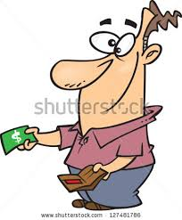 A vector illustration of cartoon man taking out money from his wallet