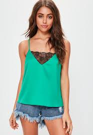 green lace insert cami top missguided