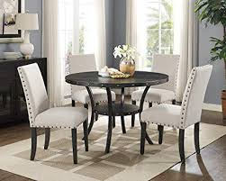 Roundhill Furniture D162TA Biony Dining Collection Espresso Wood Set Fabric Nailhead Chairs Tan