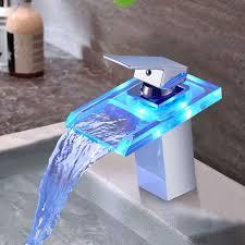 bonade led wasserhahn bad waschbecken mit rgb 3 farbewechsel beleuchtung wasserfall auslauf waschtischarmatur einhandmischer aus glas mischer spüle