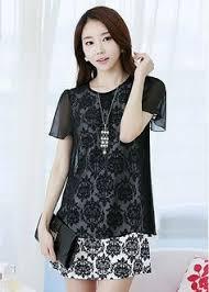 2014 Korean Style Plus Size Chiffon Dress Fake Two Piece Chinese Print Dresses Womens Short