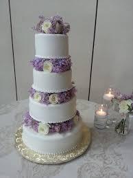 purple satin ribbon Wedding Cake in Lavender and White