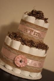 2 Tier Neutral Shabby Burlap Diaper Cake Ivory Lace Gender Cottage Chic Baby Shower Rustic Decor Centerpiece