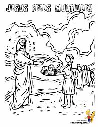 Jesus Feeds 5000 Rock Of Ages Bible Coloring Pages