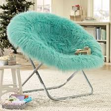 Mainstays Faux Fur Saucer Chair Multiple Colors by Fluffy Turquoise Sauce Chair On The Hunt