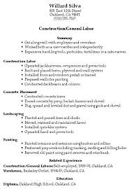 Sample Of General Resume Construction Laborer Labor Manager Restaurant
