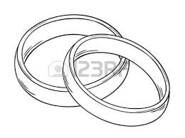 sketch of the two rings as a symbol of love isolated
