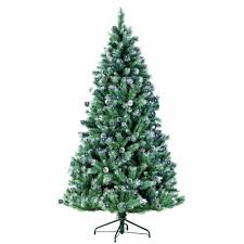 Fake Christmas Trees With Snow Lights 7ft Pre Lit Spruce Fir Artificial Tree Tips