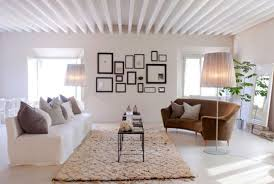 Living Room Ideas Modern Rustic Contemporary Elegant White Theme Color Design With Soft Brown Carpet Collection