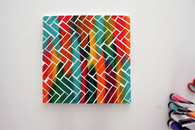 5 Create A Pattern By Using Tape Learn The Basics Of Canvas Painting Ideas