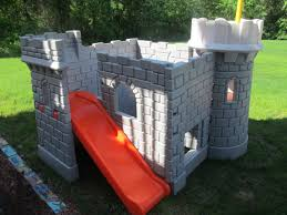 Gray And Orange Plastic Castle With Slide Playhouse Free Image ... A Diy Playhouse Looks Impressive With Fake Stone Exterior Paneling Build A Beautiful Playhouse Hgtv Building Our Backyard Castle Wood Naturally Emily Henderson Best Modern Ideas On Pinterest Kids Outdoor Backyard Castle Plans Plans Idea Forget The Couch Forts I Played In This As Kid Playhouses Playsets Swing Sets The Home Depot Pirate Ship Kits With Garden Delightful Picture Of Kid Playroom And Clubhouse Fort No Adults Allowed