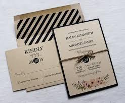 Modern Wedding Invitation Rustic Vintage Kraft