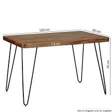 esstisch bagli massivholz sheesham 120 cm esszimmer tisch holztisch metallbeine küchentisch landhaus dunkel braun