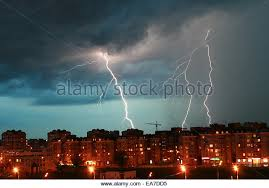 Lightning Over Night City During A Storm