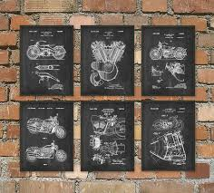Harley Davidson Motorcycle Patent Print Set Of 6 Classic