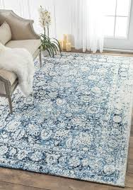 Amazon Traditional Decorative Plumes Blue Area Rugs 7 Feet 6 Inches By