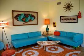 Delightful 60s Coffee Table Elegant Chandelier Above Dining Retro Living Room Cozy Blue Sofa Design