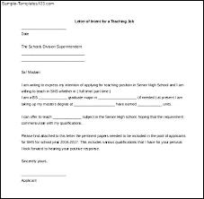 Letter Intent for A Teaching Job Sample Juzdeco