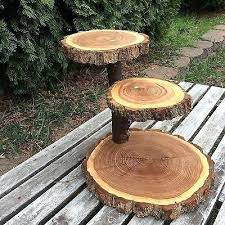 Log Wedding Cake Stand Black Walnut Wood Rustic Cupcake Party Shower 3 Tier Step Stands Uk