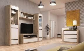 wohnzimmer komplett set b faleula 6 teilig farbe eiche weiß