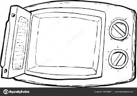 Outlined open cartoon microwave oven with control dials over white background — Vector by theblackrhino