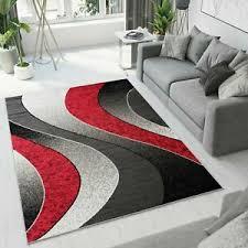 details zu teppich kurzfor schwarz grau rot modern wellen wohnzimmer schlafzimmer ökotex