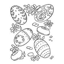 Easter Egg With Flowers In Diamond Shape Coloring Page