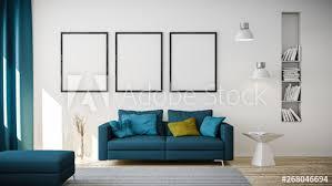3d rendering blauem oder sofa und leeren