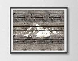 Rustic Mountain Art Print Chic Wood Cabin